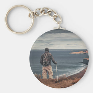Man at Highs Contemplating The Landscape Keychain