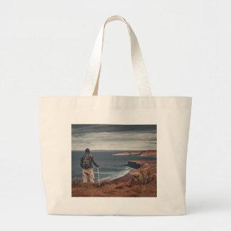 Man at Highs Contemplating The Landscape Large Tote Bag
