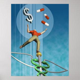 Man balancing drugs and dollar sign poster