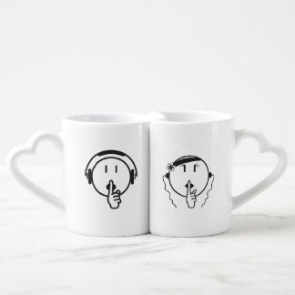 Man Be Quiet His and Hers white coffee mugs. Coffee Mug Set