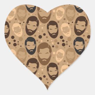 MAN BEARD pattern repeating Heart Sticker