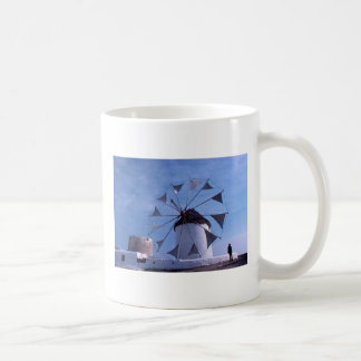 Man by a Mykonos windmill mug