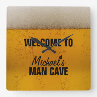 Man Cave - Beer Square Wall Clock