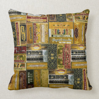 Man Cave Cigar Boxes Pattern Throw Pillow