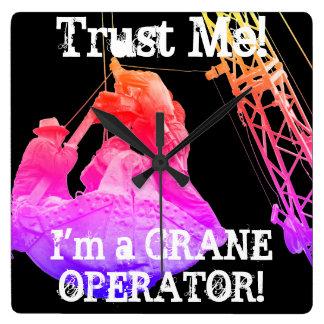 MAN CAVE Crane Operator Vintage Photograph Square Wall Clock