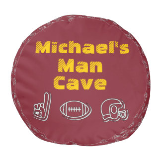 Man Cave Football Sports Team Burgundy Gold Pouf