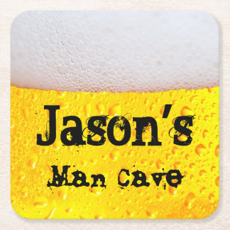 Man Cave Funny Frothy Beer Enter Your Own Name Square Paper Coaster