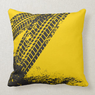 Man Cave Gift. Grunge. Tire Tracks. Throw Pillow