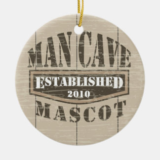 Man Cave Mascot - Established (add year) Round Ceramic Ornament