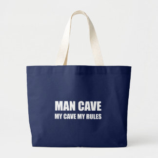 Man Cave My Rules Large Tote Bag