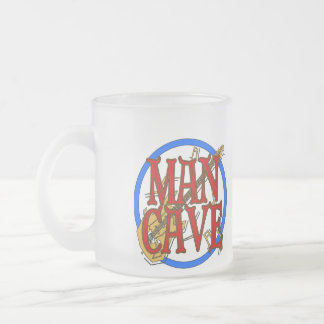 Man Cave, NAME add text 10 Oz Frosted Glass Coffee Mug