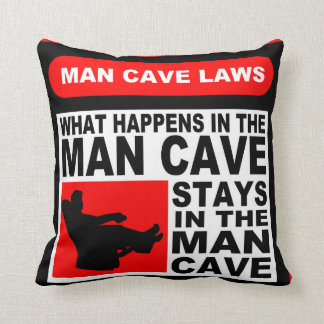 Man Cave Rules Throw Pillows