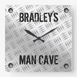 Man Cave Steel Diamond Plating Square Wall Clock