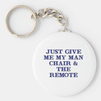 Man Chair & Remote Basic Round Button Keychain