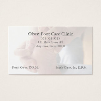 man checks skin on foot podiatry business card