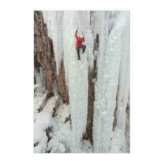 Man climbing ice, Colorado Acrylic Wall Art