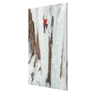 Man climbing ice, Colorado Canvas Print