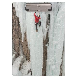 Man climbing ice, Colorado Clipboards