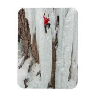 Man climbing ice, Colorado Rectangular Photo Magnet