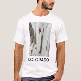 Man climbing ice, Colorado T-Shirt