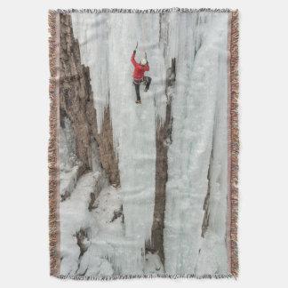 Man climbing ice, Colorado Throw Blanket