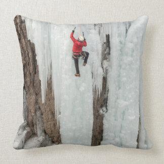 Man climbing ice, Colorado Throw Pillow