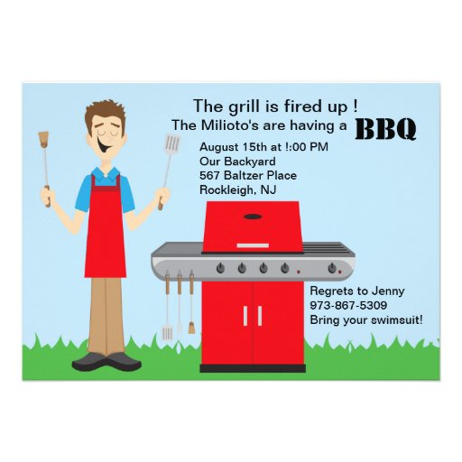 Man Cooking on the Grill Barbecue Invitation