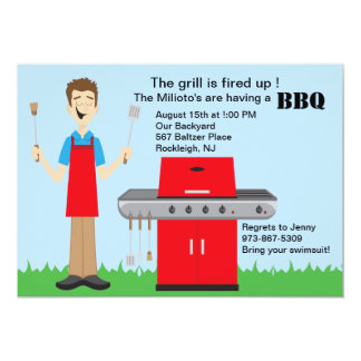"""Man Cooking on the Grill Barbecue Invitation 5"""" X 7"""" Invitation Card"""