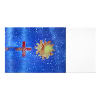 man cross sun blue spraypaint photo card template