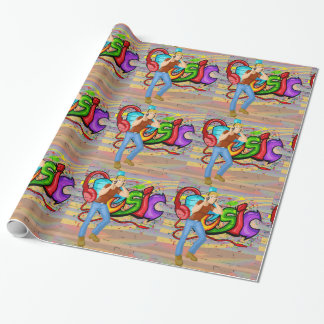 Man  Dancing 2 With Music Graffiti Wall Background Wrapping Paper