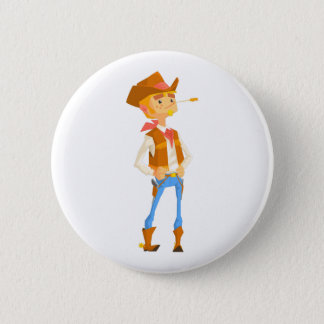 Man Dressed As Cowboy With A Straw In His Mouth 2 Inch Round Button