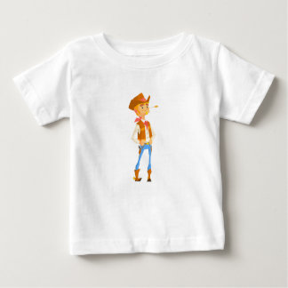 Man Dressed As Cowboy With A Straw In His Mouth Baby T-Shirt