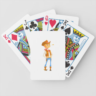 Man Dressed As Cowboy With A Straw In His Mouth Bicycle Playing Cards