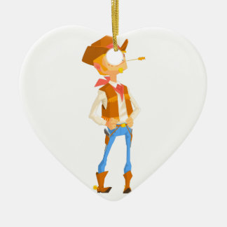 Man Dressed As Cowboy With A Straw In His Mouth Ceramic Ornament