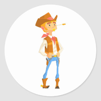 Man Dressed As Cowboy With A Straw In His Mouth Classic Round Sticker