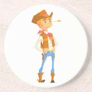Man Dressed As Cowboy With A Straw In His Mouth Coaster