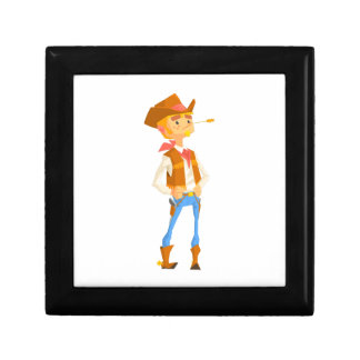 Man Dressed As Cowboy With A Straw In His Mouth Gift Box