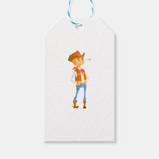 Man Dressed As Cowboy With A Straw In His Mouth Gift Tags