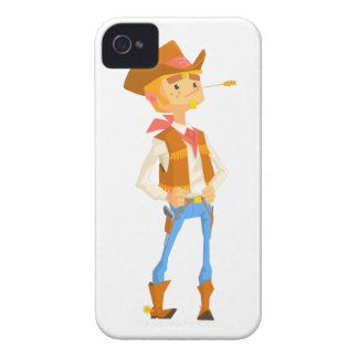 Man Dressed As Cowboy With A Straw In His Mouth iPhone 4 Cover