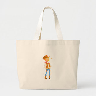 Man Dressed As Cowboy With A Straw In His Mouth Large Tote Bag