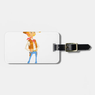 Man Dressed As Cowboy With A Straw In His Mouth Luggage Tag
