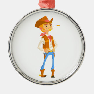 Man Dressed As Cowboy With A Straw In His Mouth Metal Ornament