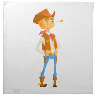 Man Dressed As Cowboy With A Straw In His Mouth Napkin