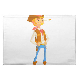 Man Dressed As Cowboy With A Straw In His Mouth Placemat