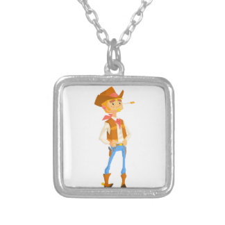 Man Dressed As Cowboy With A Straw In His Mouth Silver Plated Necklace