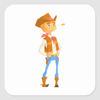 Man Dressed As Cowboy With A Straw In His Mouth Square Sticker
