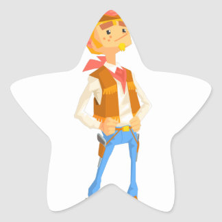Man Dressed As Cowboy With A Straw In His Mouth Star Sticker