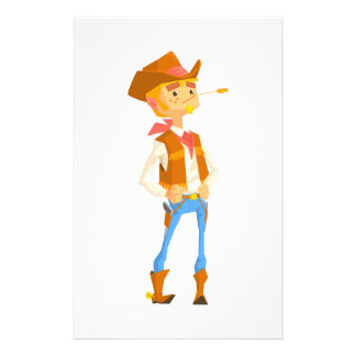 Man Dressed As Cowboy With A Straw In His Mouth Stationery