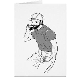 Man drinking coffee at a coffee shop card