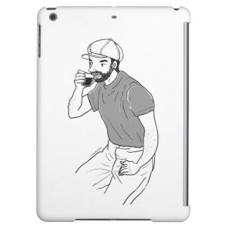 Man drinking coffee at a coffee shop iPad air case